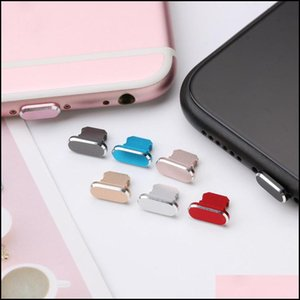 Anti-Dust Gadgets Cell Phones & Aessories Metal Skin Pc Charger Port Anti Dust For 7 8 X 6S Plus Cap Stopper Er Phone Aessories Charging Plu