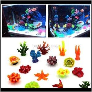 Aquarien Haustierbedarf Garten Drop Lieferung 2021 Aquarium Harz Coral Sile Pflanze Starfish Decor Simulation Fischtank Gefälschte Wasser Landschaft H