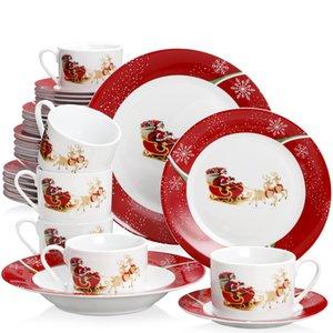 2021 Veveet 30/60-х частей керамический фарфоровый рождественский узор подарок посуда посуда обеда с чашкой блюдце десертный суп обеда