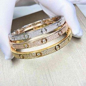 Yunao популярные продукты винт моды роскошные женщины мужские браслеты Zircon Inlaid золото вечеринка классический стиль пара браслет