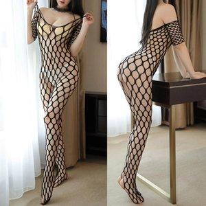 Plus Sexy Lingerie BodyStockings Fishnet Bodystockings Erotico Abbigliamento Big Netting Foro Body Transparente Intimo Costumi Costumi Bras Set