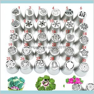 Cake Tools Bakeware Kitchen, Dining & Bar Home Garden 30Piece Set Icing Piping Tips Set Christmas Pattern Russian Decorating Supplies