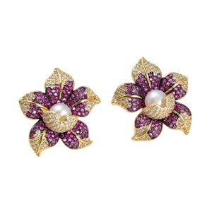 GuaiGuai Jewelry Cz Pave Pearl Earrings White Pearl Yellow Gold Plated Cz Flower Earrings Handmade For Women Real Gems Stone Lady Fashion Jewellry