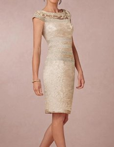 A-Line Mother of the Bride Dress Elegant & Luxurious Jewel Neck Knee Length Lace Short Sleeve with Appliques 2021 c075