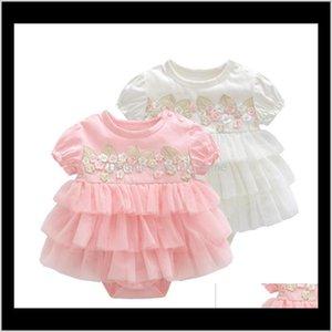 Rompers Jumpsuitsmompers Детская родительская доставка 2021 летнее платье крещение рождено девушка одежда розовые дети цветочные платья для девушек свадьба