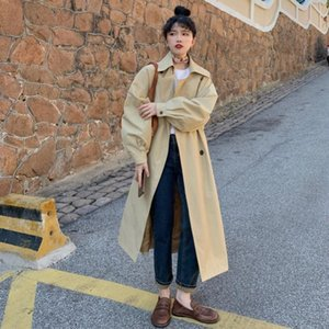 Korean Style Light Khaki Trench Coat Female Fashion Double Breasted Belted Loose X-long Lady Outerwear Oversize Quality Women's Coats