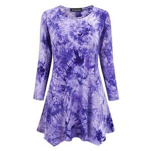 Abiti 2020 Womens Tie Dye Print 3/4 T-Shirt T-shirt a maniche lunghe Tunica allentata Adatta Aw Swing Flare T-shirt per le donne Top