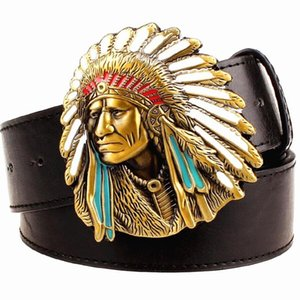 Fashion Men Belt West Cowboy For Punk Rock Belts Exaggerated Style Chief Head Men's Leather Hip Hop Girdle