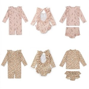 Toddler Girls Boys Swimming Suits New Summer KS Brand Baby Hawaii Clothes Kids Flower Swimwear Children Swimsuits Cute Bikini 210304 620 Y2