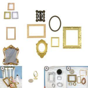 1:12 Escala Molduras Retro Espelho para Dollhouse Decor DIY Ornamento Vintage Mobiliário Europeu Estilo Boneca Casa Acessórios 1376 Y2