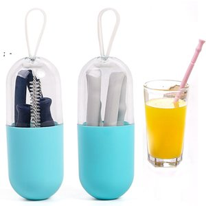 Reusable Bar Tools Collapsible Silicone Straws with Case folding Portable straw Cleaning Brush OWE9374