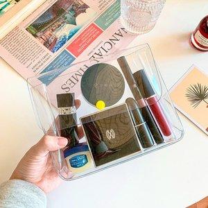 Bolso de almacenamiento cosmético portátil Maquillaje botón de ajuste de botón PVC PVC Transparente Organizador de viaje Bolso bolsos