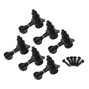 Electric Guitar Machine Heads Knobs String Tuning Pegs Locking Tuners Pack Mounting Screws and Ferrules Black