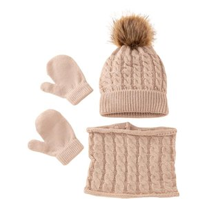 Clothing Sets T5EC Winter Warm Baby Solid Color Hat Gloves Scarf Set Fur Ball Beanies Mitten Scarves Kit For Toddler Girls Boys