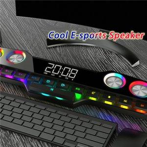 Wireless Gaming Bluetooth Speaker Computer Sound Bar 3D Stereo Music Center LED Subwoofer Home Theater Clock Speaker 4000mAh FM