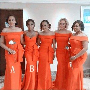 Bridesmaid Dress Robe Demoiselle D'honneur 2 Style Mermaid Orange Bridemaid Dresses Satin Formal Wedding Party Gowns Prom