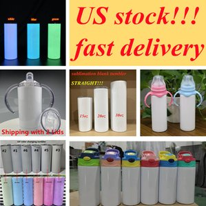 local warehouse!!sublimation straight tumbler glow in the dark tumblers blank sippy cup kids water bottle mason jar(short delivery time)