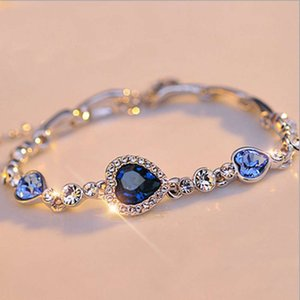 High-quality goods Korean love Crystal Fashion ocean heart best friend Korea jewelry accessories Bracelet creative style No original box vip7