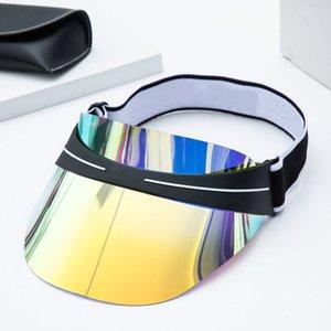 2021 Klasik Üst Tasarımcı Visor Moda Yaz Moda erkek Ve Kadın Güneş Şapka Son Tasarım Dazzle Renk Şeffaf PVC Güneş Şapka