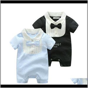 Rompers Bow Toddler Boy Jumpsuits Gentleman Infant Romper Cotton Girl Designer Climbing Clothes Summer Baby Clothing 2 Colors Lw23Z Kthy7