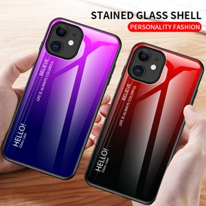 Gradient glass shell phone cases For iPhone 12 11 pro promax Xs Max 8 Plus Samsung S8 S9 S10 S20 NOTE8 9 10