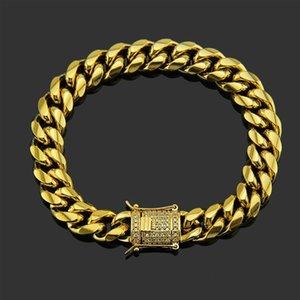 Link, Chain Men Bracelets Stainless Steel Cuban Link Friendship Zircon Bracelet On Hand Gold Charm Hip Hop Jewelry
