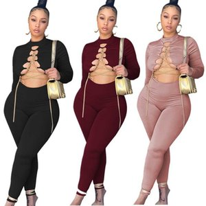 High Street Two Piece Set Women Jumpsuits Hipster Casual Solid Chain Lace Up Long Sleeve Crop Top+slim Stretch Trouser Female Tracksuit S-XXL