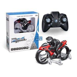 2 en un control remoto Transformable Quadcopter Motorcycle Toy, simuladores, Drone de doble modo de aire terrestre, luces de flip de 360 °, regalos de Navidad niño, 2-1