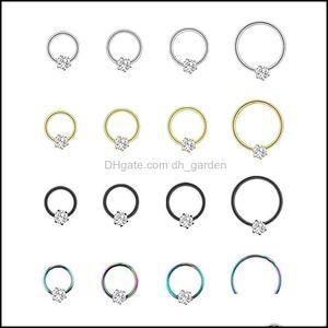 Wholesale Stainless Steel Open Hoop Ring With Zircon Ear Bone Nail Nice Body Pierce Jewelry D4Qwy Rings R92Gn