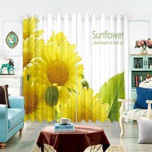 Curtain & Drapes Modern Style Bedroom Blackout 3d Yellow Sunflower Magnolia Flower Pattern Velvet Fabric Tulle For Living Room