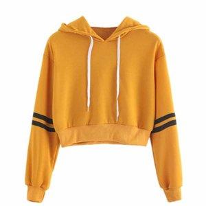 40# Hoody Ladies Varsity-striped Drawstring Crop Hoodie Sweatshirt Jumper Pullover Top Sweat Capuche Femme Women's Hoodies & Sweatshirts