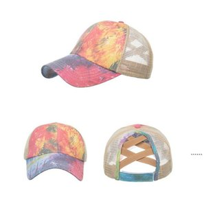 Tie Dye Ponytail Baseball Cap Criss Cross Snapback Hats Outdoor Sports Mesh Trucker Hats Fashion Street FWB6388