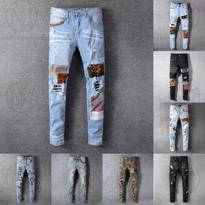 21ss мужские женские дизайнеры джинсы огорчены разорванный байкер тонкий прямой джинсовые для мужчин s печатная армия мода мода худые брюки 2021