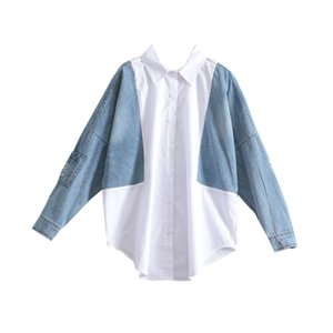 Stitching Denim Shirts Women New 2019 Cotton Loose Pluz Size Wild Blouses and Tops Female Fashion Casual Women Clothing