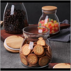 Jars Housekeeping Organization Home & Garden Drop Delivery 2021 750Ml Cute Small Glass Jar Bottles For Spices Storage Counter With And Bamboo