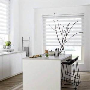 Grey White Zebra Blinds for Windows Premium Roller Blinds Shades Blackout Day and Night Control for Home Office Persiana Estores 210722