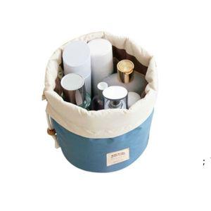 Barrel Shaped Travel Bags Nylon Polyester High Capacity Drawstring Elegant Drum Wash Bag Makeup Storage Organizer OWE5894