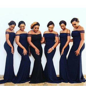 Elegant Simple Sexy Dark Navy Off Shoulder Mermaid Bridesmaid Dresses Long Plus Size Wedding Guest Party Gowns Satin Sweep Train African Maid Of Honor Dress