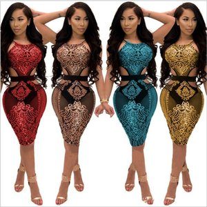 skirts clothing S-XL print dresses casual Sexy sequins see-through party mini t-shirt dress plus size nightclub Women summer sequins