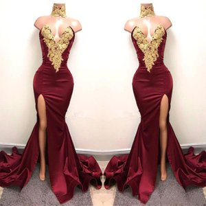 Vestidos de ocasiones especiales de Borgoña con encaje de oro apliquen sirena frontal división para fiesta de fiesta de fiesta de noche vestidos de desgaste DW018