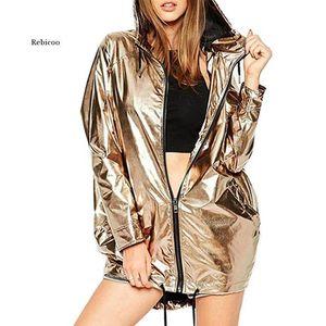 Women's Jackets Metallic Color Bomber Jacket Womens Outerwear Hooded Spring Femme Zip Up Waterproof Raincoat