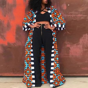 Women Leggings Long Trench Coat Fashion African Style Streetwear Oversized Cardigan Spring Fall Clothing Vintage Floral Print Outwear