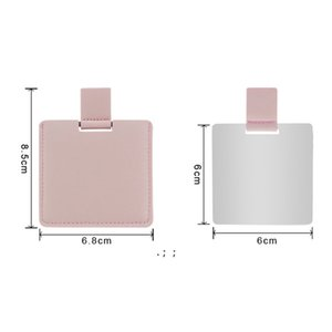 Sublimation Blank PU Leather Makeup Mirror Outdoor Portable Square Heat Transfer Mini Mirrors DIY Gift OWA8871