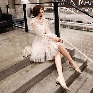 Short Style Lace Sequin Celebrity Student Party Can Wear Evening Dress