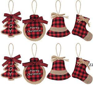 8 Pcs Burlap Christmas Ornaments Set, Funny Unique Mini Xmas Tree Decorations, Small Red Plaid Stockings  Ball  Tree  Bell HWF10158