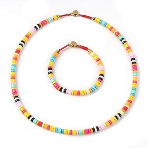 Style Spray Painted Pipe Rainbow Bracelet Necklace Set