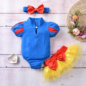 girls cartoon pricness clothes set summer toddler outftis baby short sleeve Fairytale infant romper+yellow gauze skirt 3pcs suits S1002