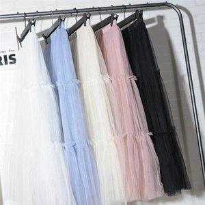 Skirts 2021 Fashion High Waist Maxi Beach Lace Solid Ladies Women Loose BOHO Chiffon Long Full Skirt