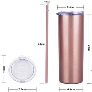 20oz Skinny Cups Sublimation Tumbler Coffee Mugs with Lids Colorful Straws Insulated Vacuum Tumblers Slim Straight Cup sea ship DWE6035