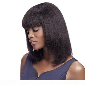 Cheap fashionable 100% unprocessed virgin remy human hair short natural color yaki straight bob full lace wig attractive for women